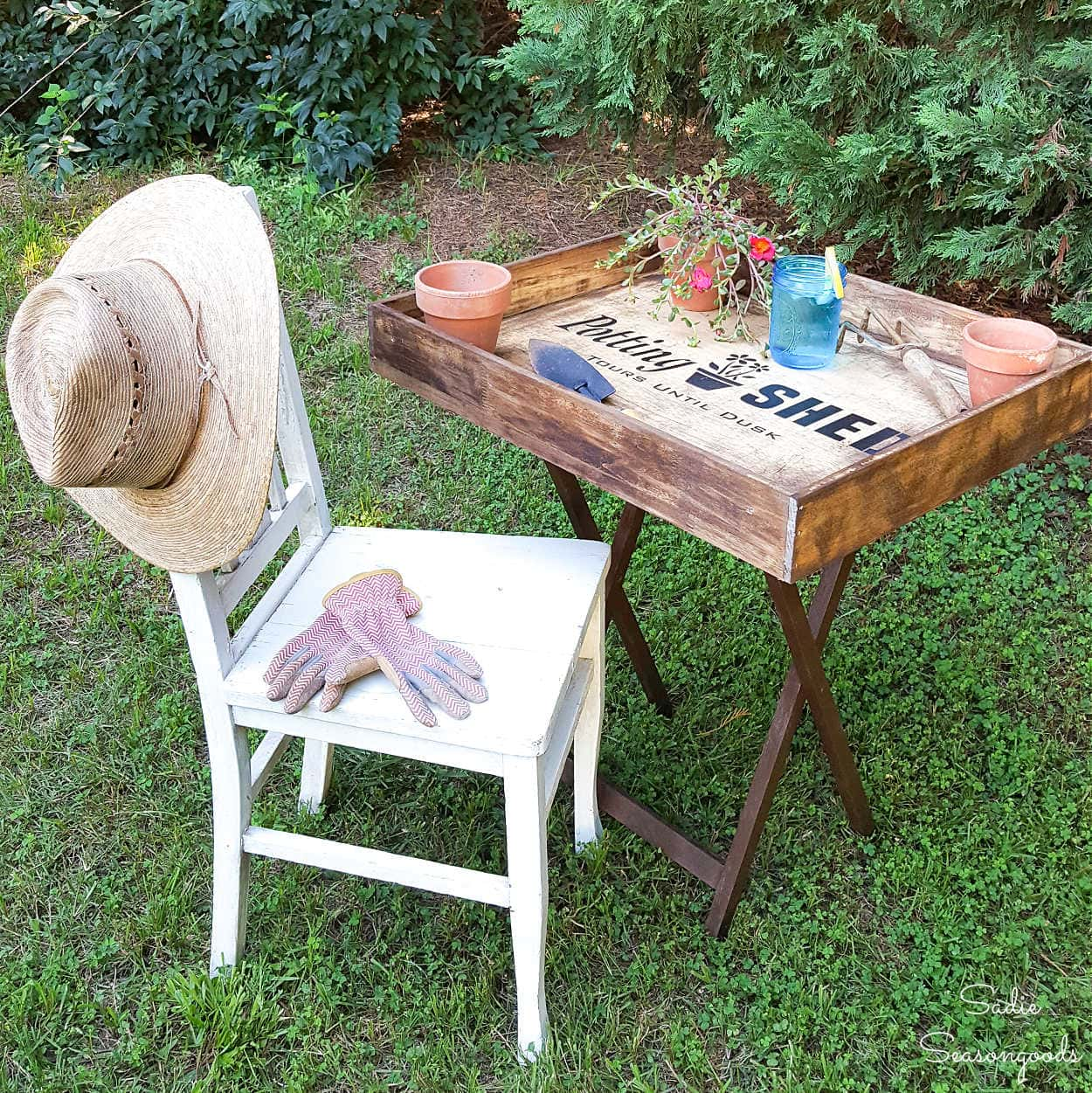 Portable Potting Bench from a Dresser Drawer