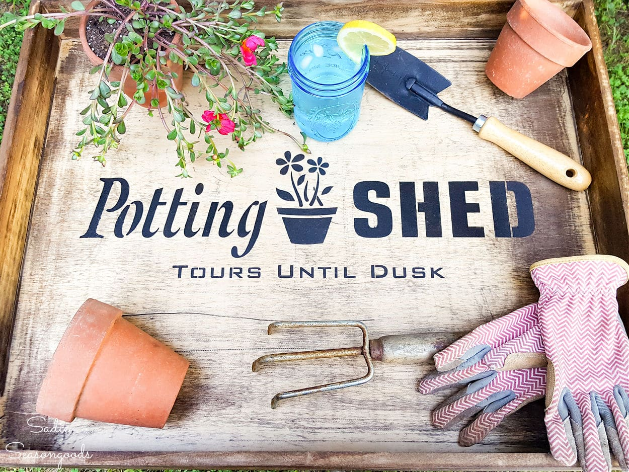 repurpose drawers as a portable potting bench