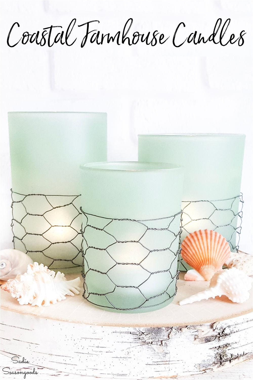 sea glass candle holder for coastal farmhouse decor