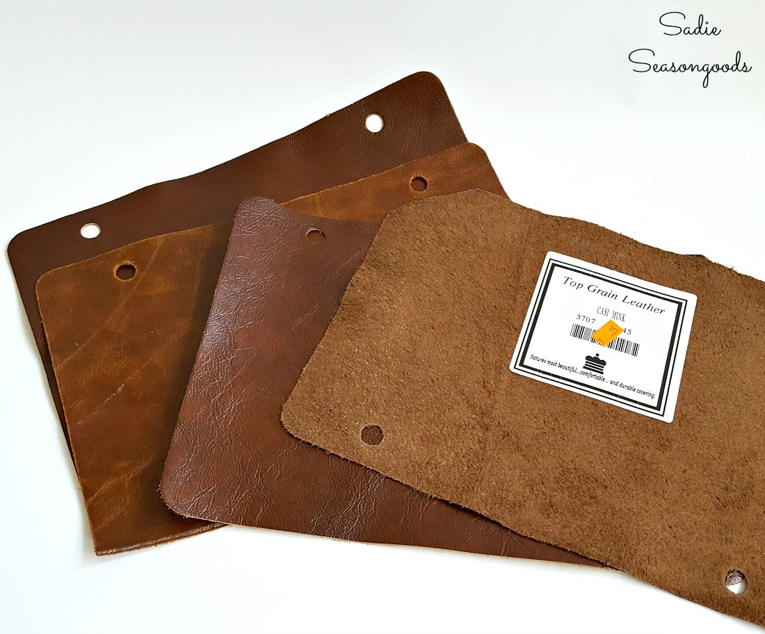 Leather scraps to become pockets on a brochure holder or brochure stand by Sadie Seasongoods