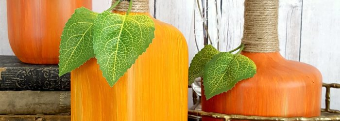 Decorative gourds for harvest decor or autumn decor by painting glass jars and bottles for pumpkin decor by Sadie Seasongoods