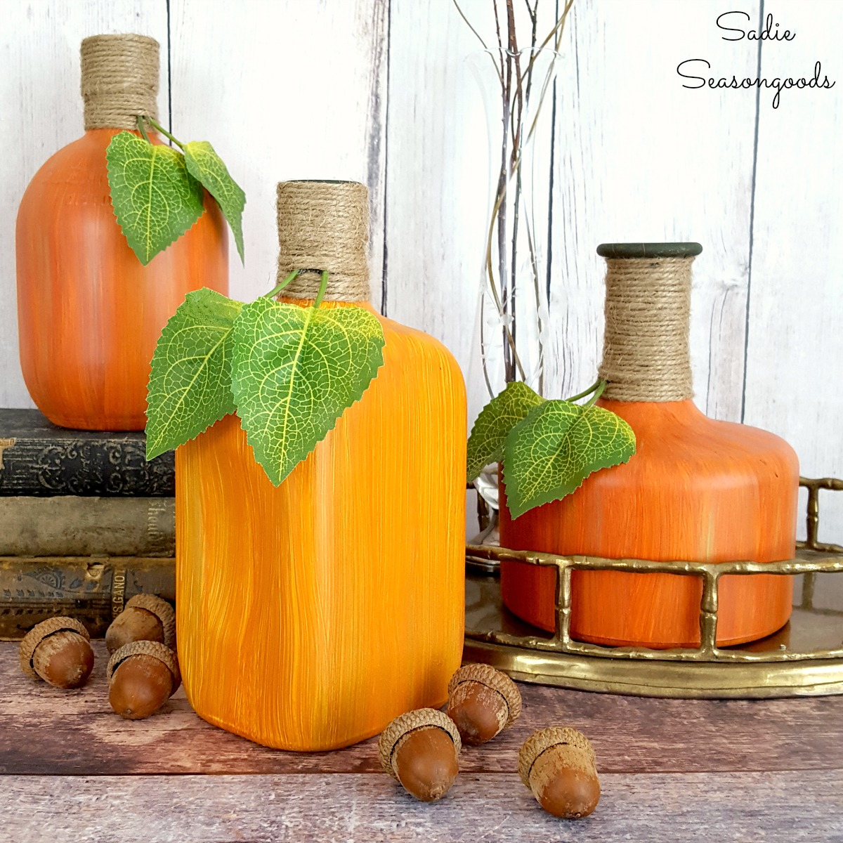Decorative gourds for harvest decor or autumn decor by painting glass jars and bottles for pumpkin decor