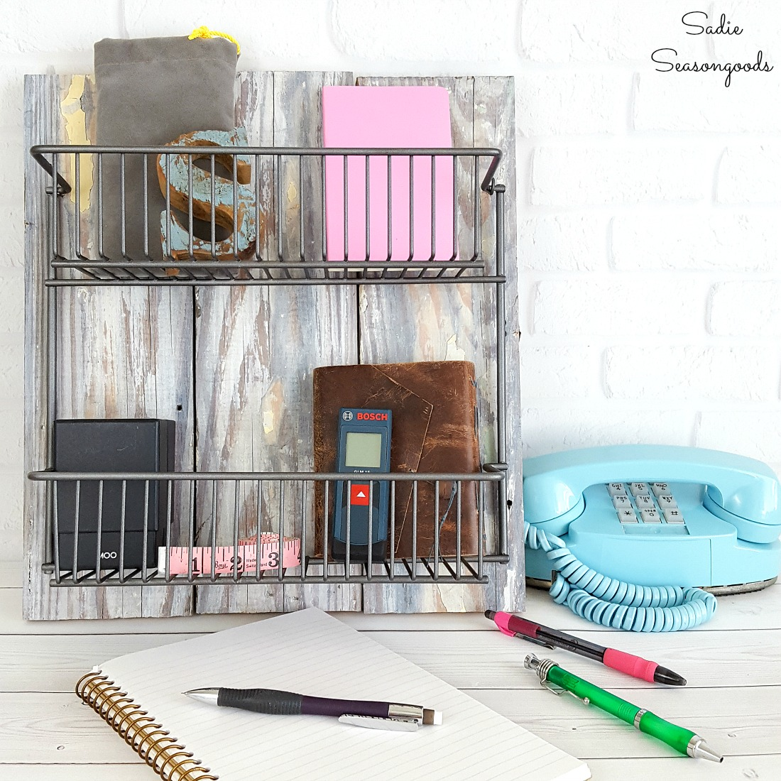 Wire Storage Baskets and Industrial Farmhouse Decor from a Wire Kitchen Rack
