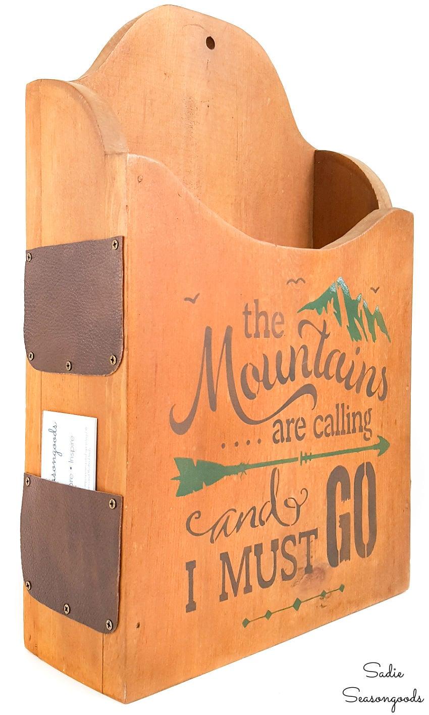 brochure holder and mountain lodge decor