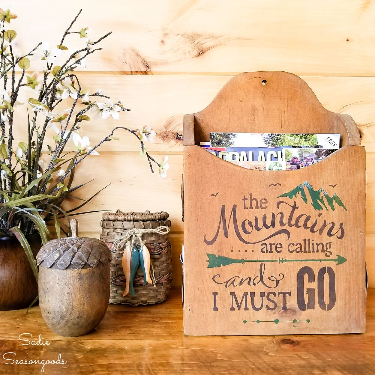 Brochure Stand and Mountain Cabin Decor