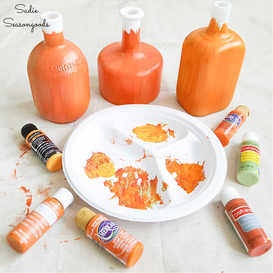 glass bottle painting ideas for fall