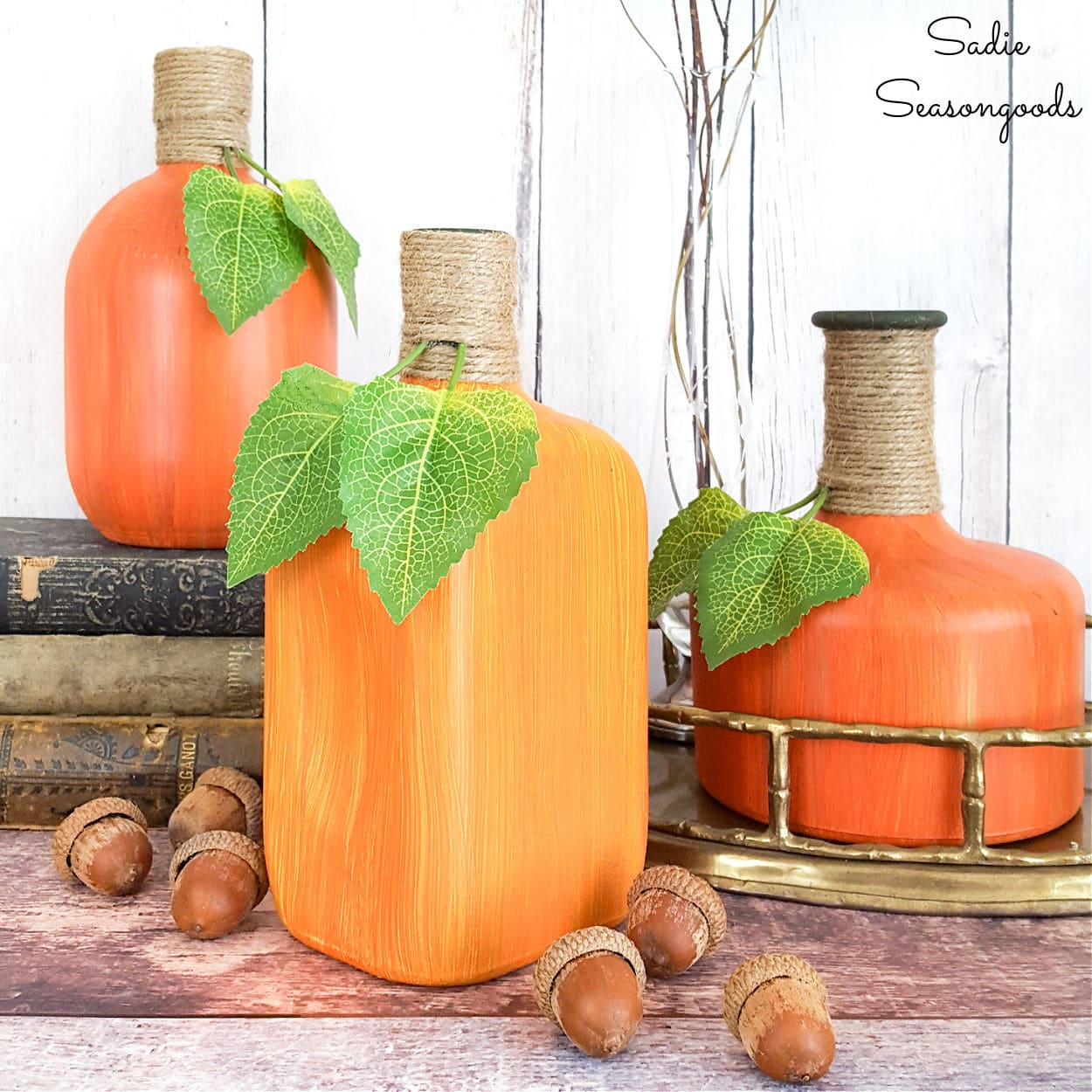Liquor Bottle Painting for Fall Pumpkin Decor