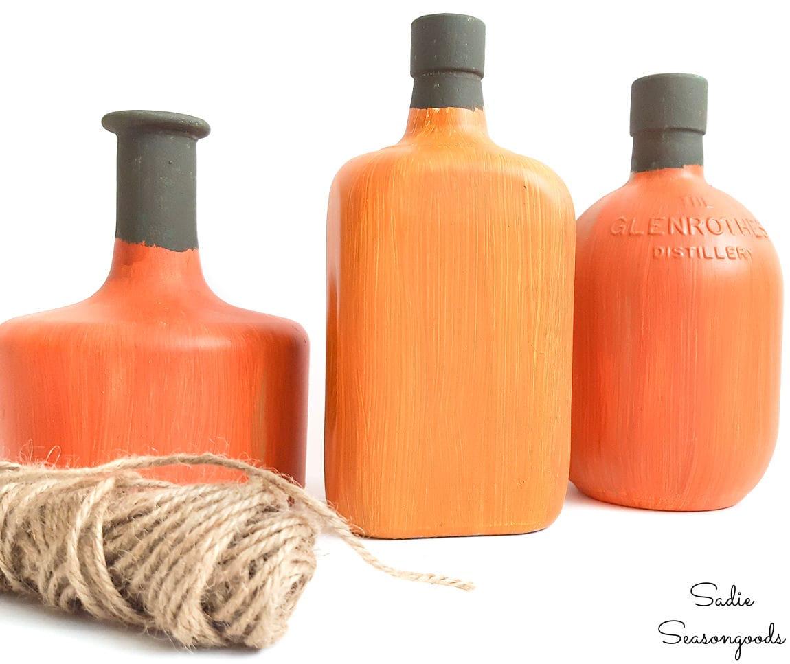 liquor bottle painting for fall pumpkins