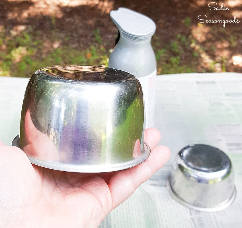 Spray painting the metal cups in a vintage condiment caddy