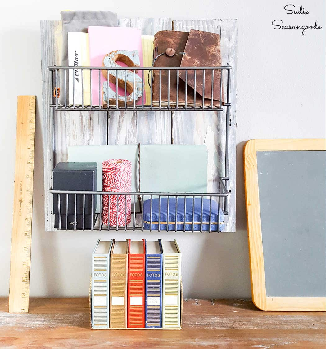 storage and decor for a rustic home office