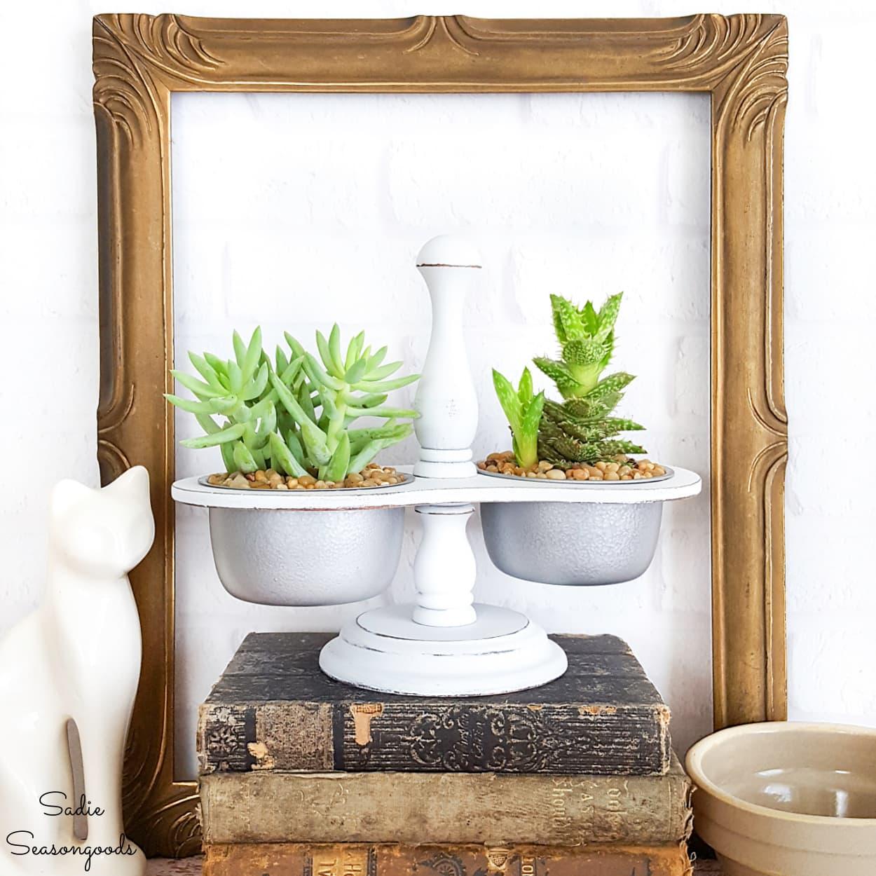 Vintage Condiment Caddy as Mini Succulent Pots