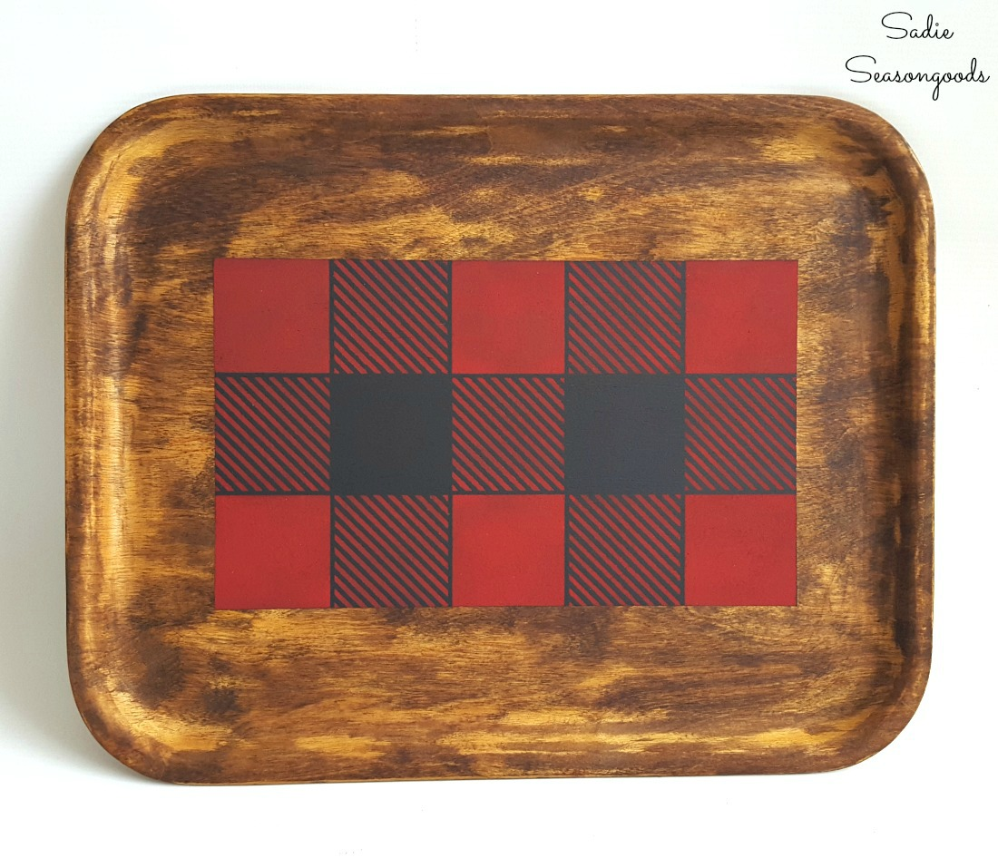 Rustic cabin decor or lodge decor with a wooden tray from the thrift store and a Buffalo plaid stencil