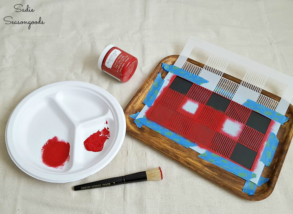 Buffalo plaid decor or Buffalo check decor on a wood tray from the thrift store for an autumn craft