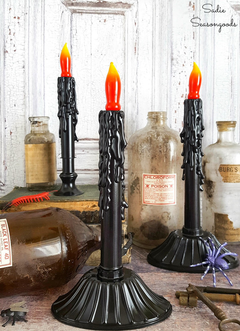 Christmas window candles as creepy candles for Halloween decorations