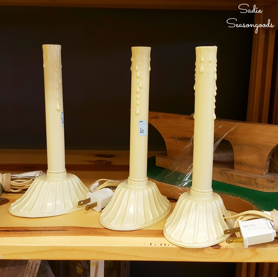 Christmas window candles for upcycling as Halloween decorations