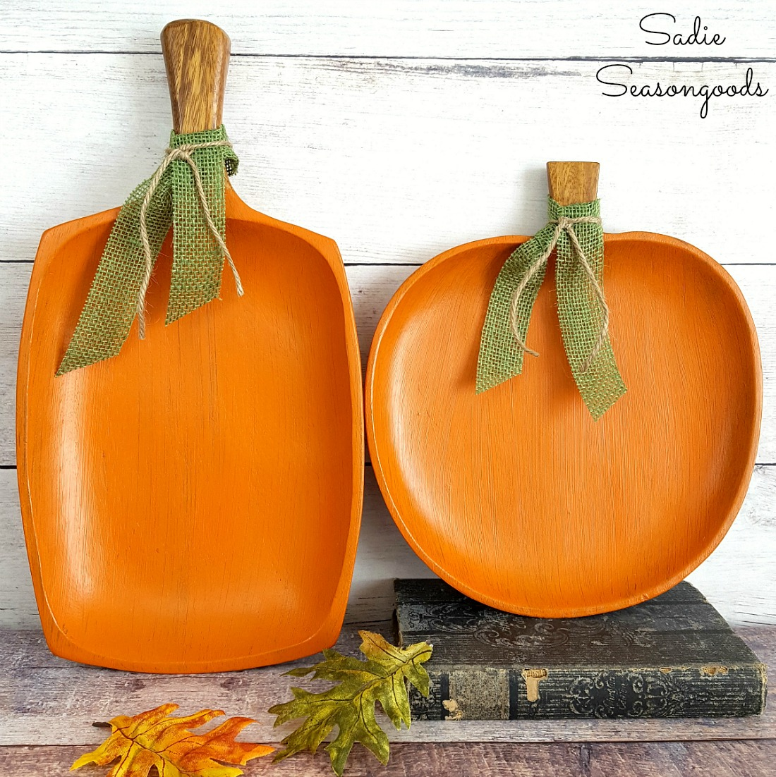 Fall decor with monkey pod wood or monkey wood that has been upcycled into decorative pumpkins with orange chalk paint by Sadie Seasongoods