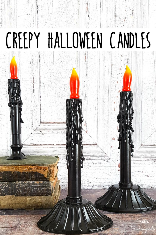 Halloween window lights and creepy candles