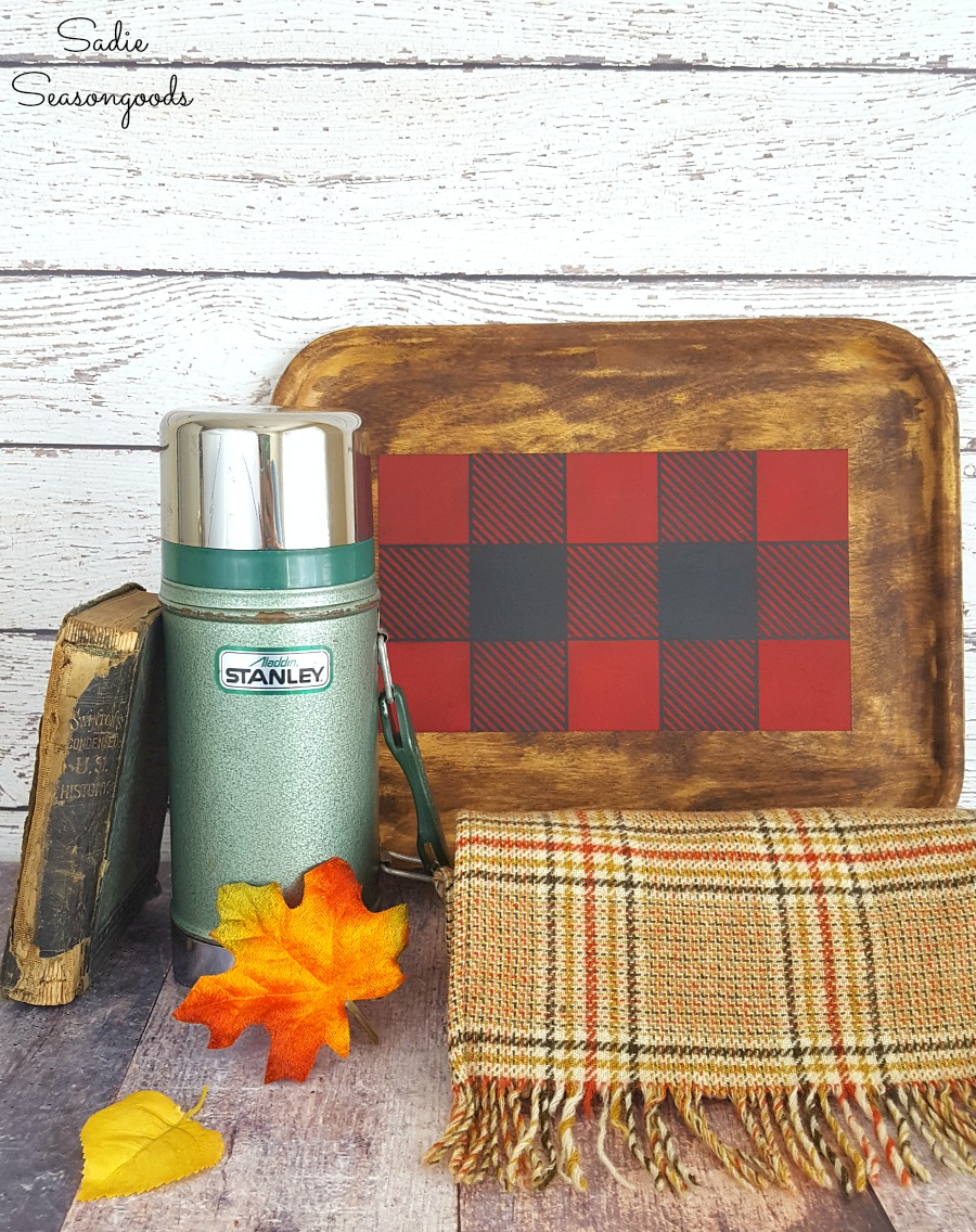 Lodge decor and rustic cabin decor by upcycling a wood tray from the thrift store with a Buffalo plaid stencil