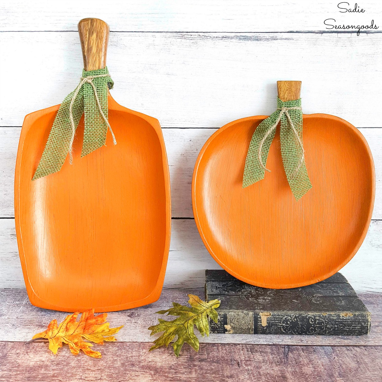 Painted wooden pumpkins from monkey pod wood for rustic fall decor