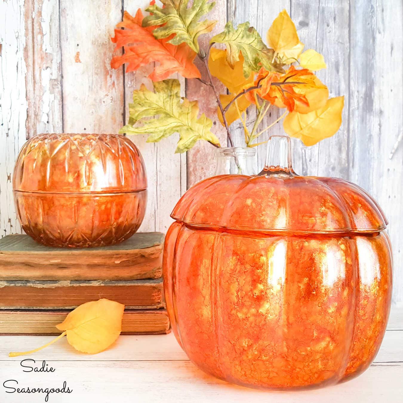 alcohol ink on glass pumpkins