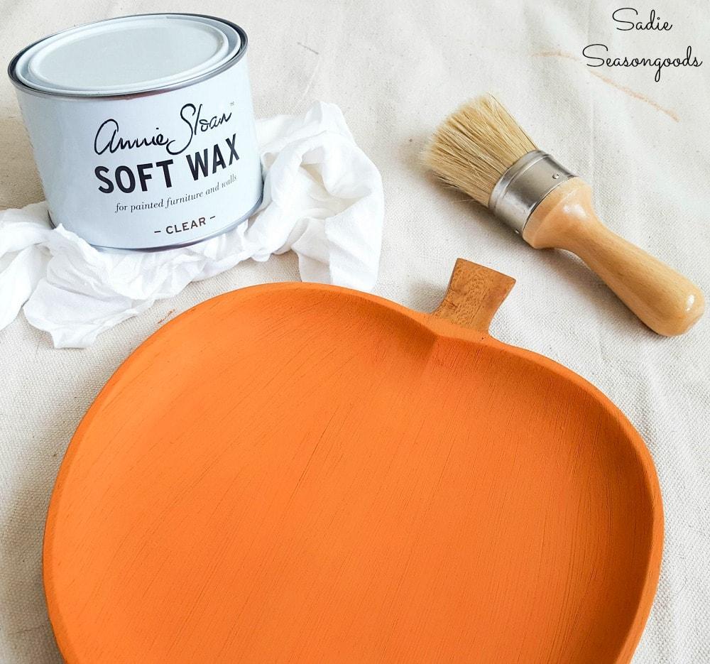 clear wax over orange chalk paint