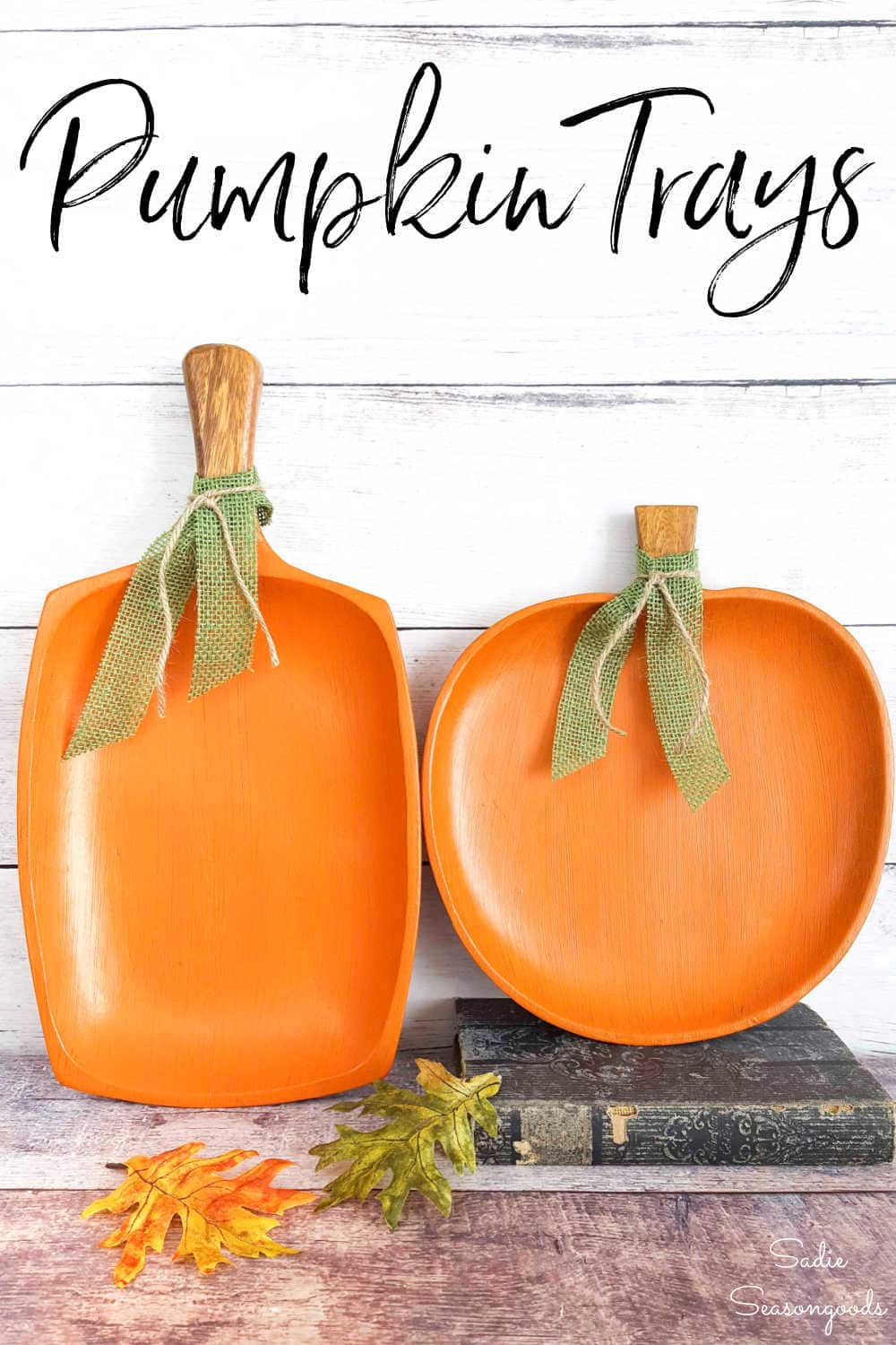 painted wooden pumpkins from monkey pod wood