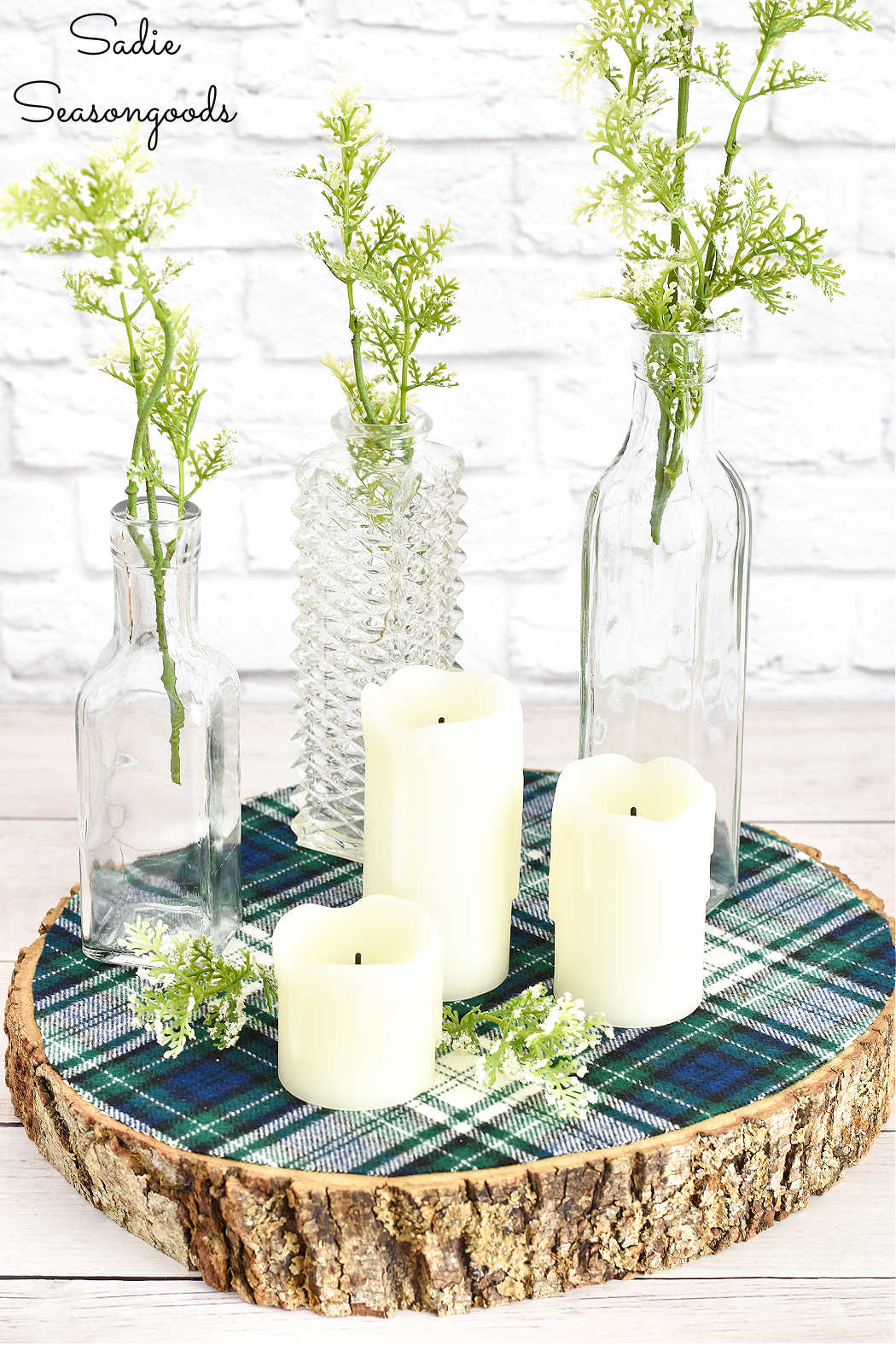 rustic centerpiece from crafting with flannel