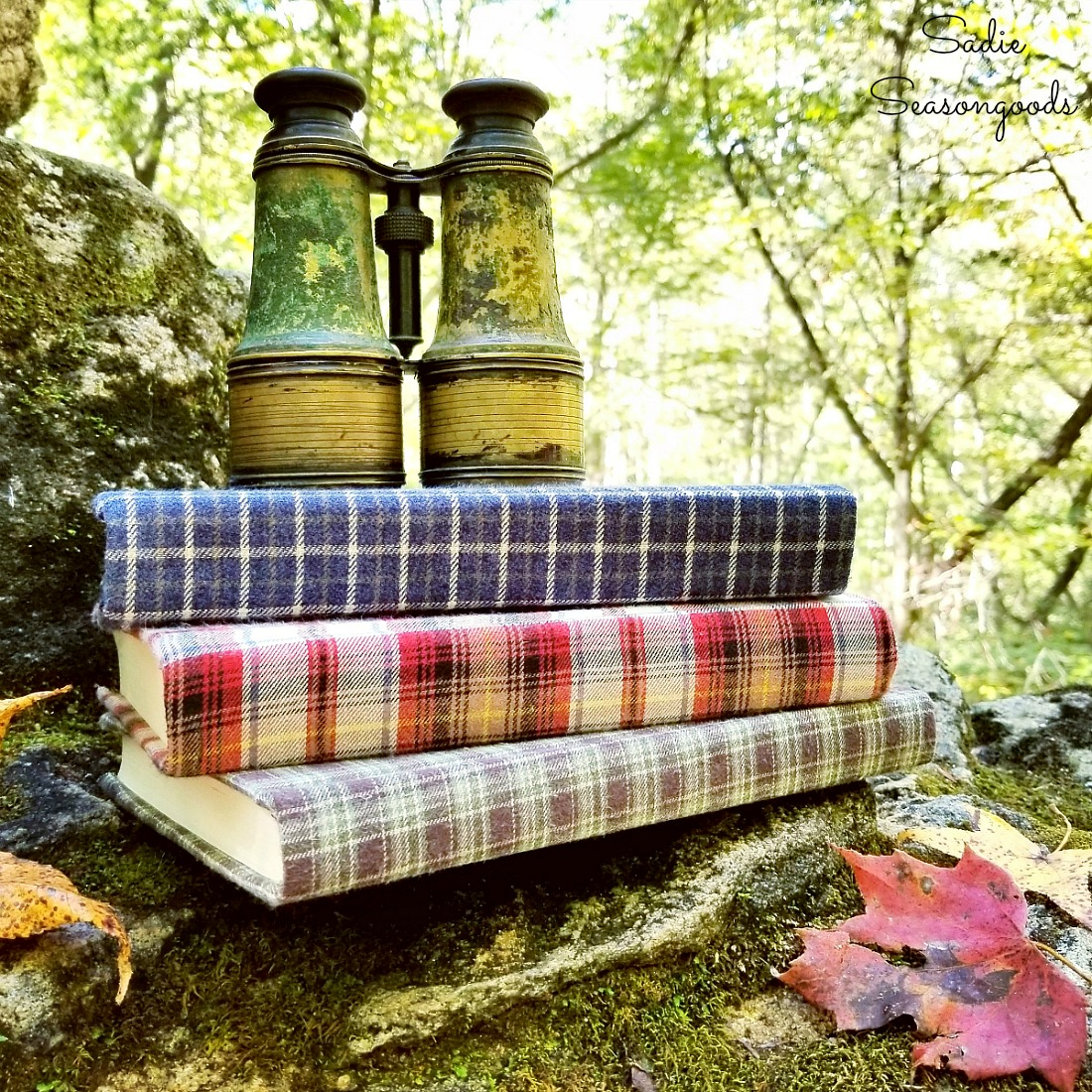 Decorative books with flannel fabric from mens flannel shirts for Koselig, Hyggelig, and cozy home decor by Sadie Seasongoods