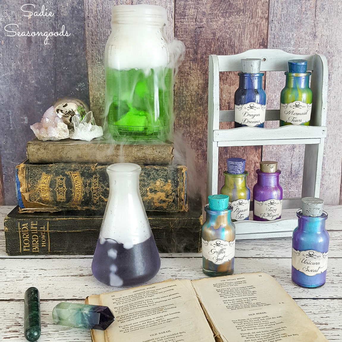 Halloween Potion Bottles by Upcycling a Vintage Spice Rack