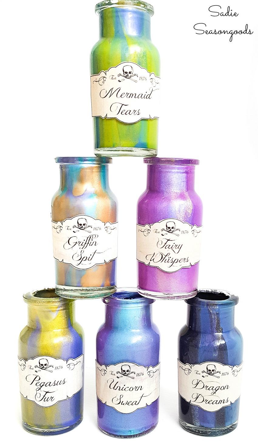 Harry Potter potion bottles from a vintage spice rack