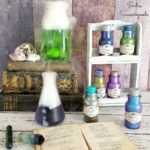Potion Bottles with Color Changing Paint and a Vintage Spice Rack