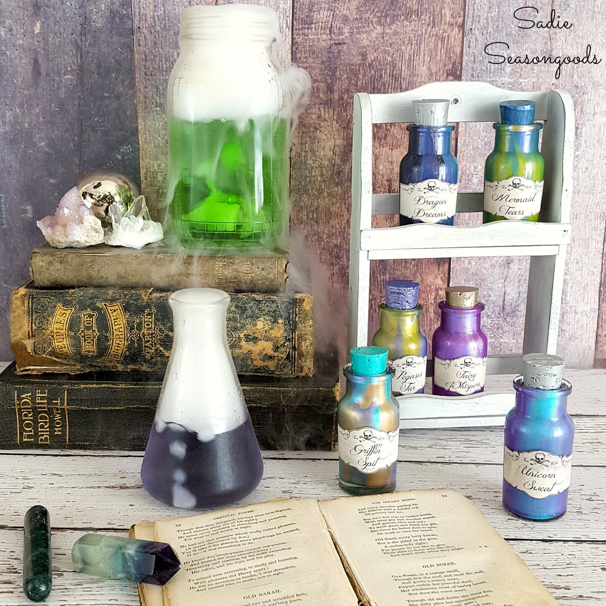 Harry Potter potion bottles with color shift paints in a vintage spice rack for Halloween magic decor by Sadie Seasongoods