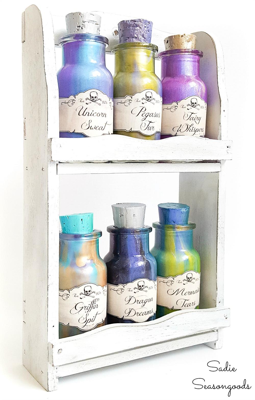 Repurposing an old spice rack as Halloween potion bottles