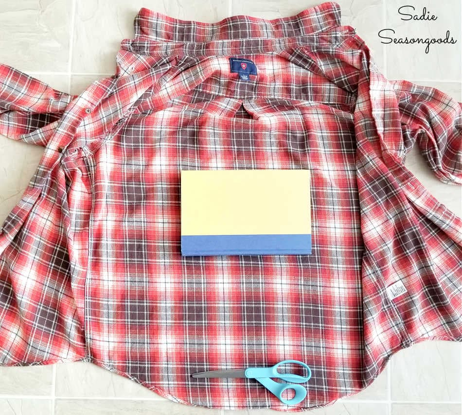 covering books with used flannel shirts