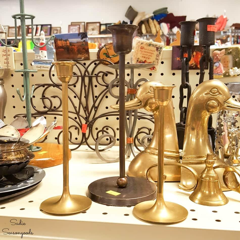 Metal candlesticks at a thrift store