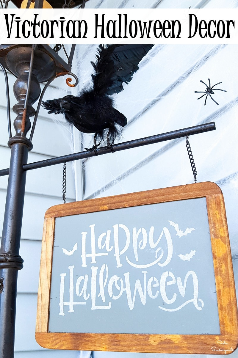 Upcycling a garden light post into a Halloween lamp post