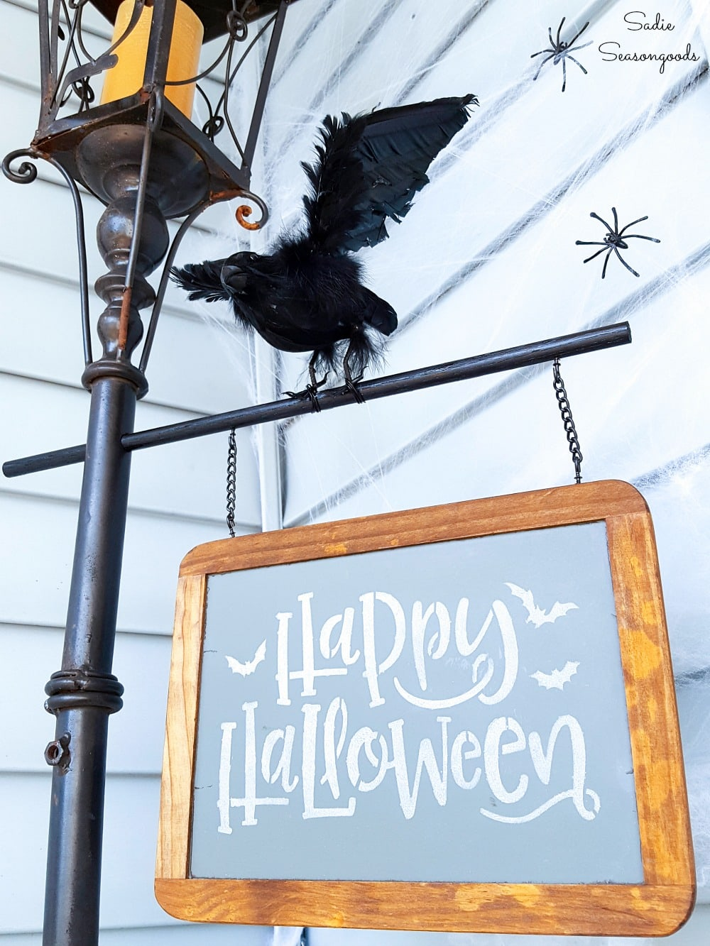 Victorian Halloween decor with a Halloween lamp post