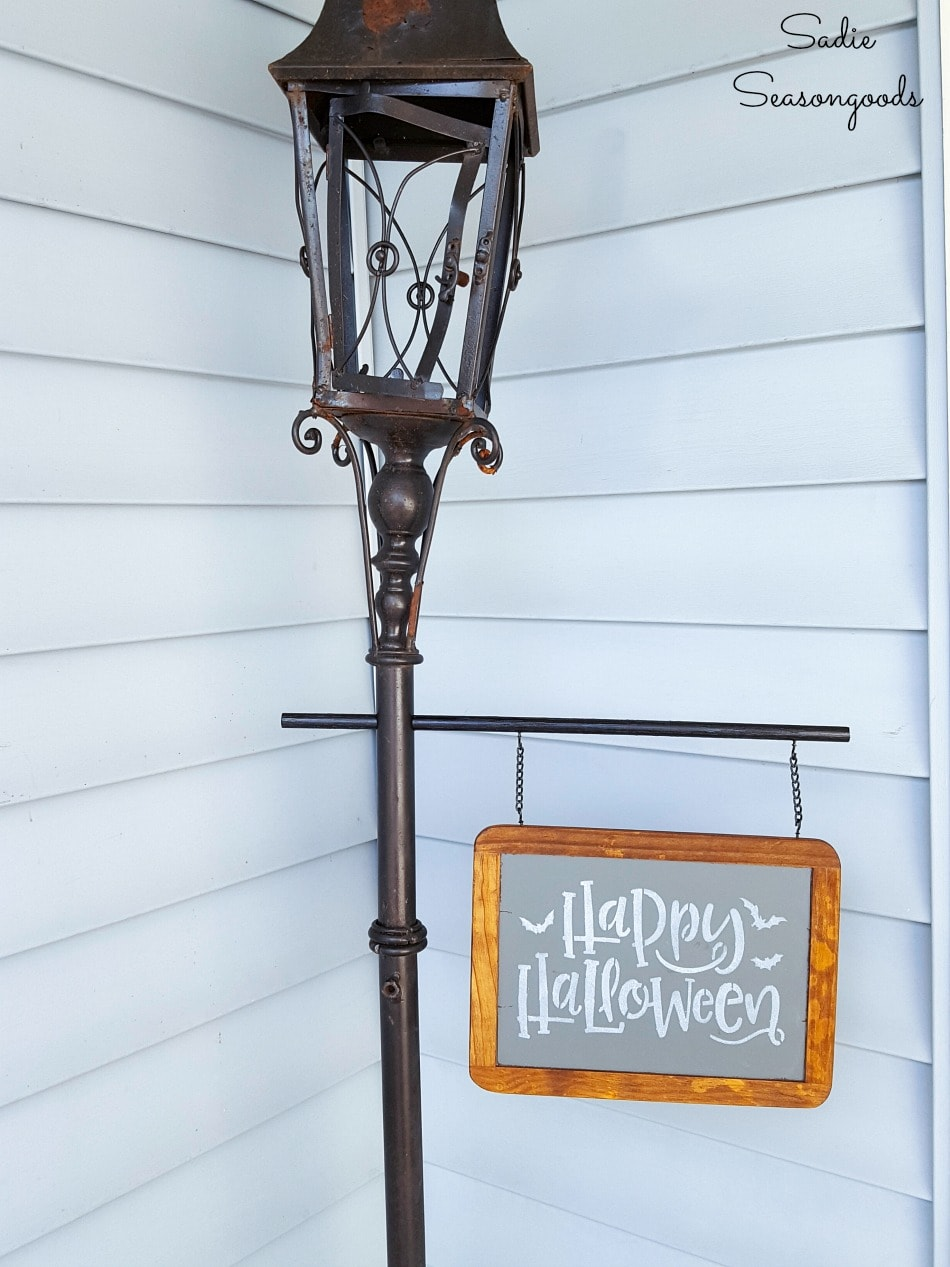 Victorian street lamp for Halloween porch decor