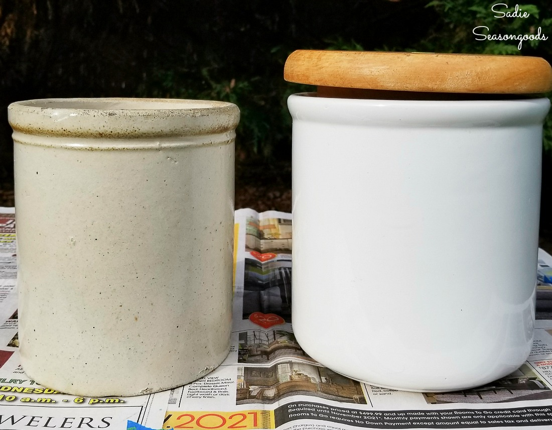 Comparing a white ceramic canister to the antique crocks