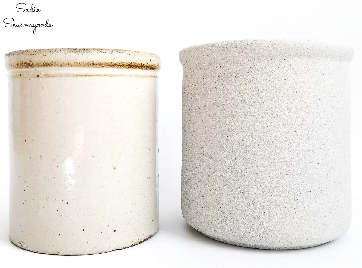 Comparing the vintage crocks with the faux finish on a white ceramic canister