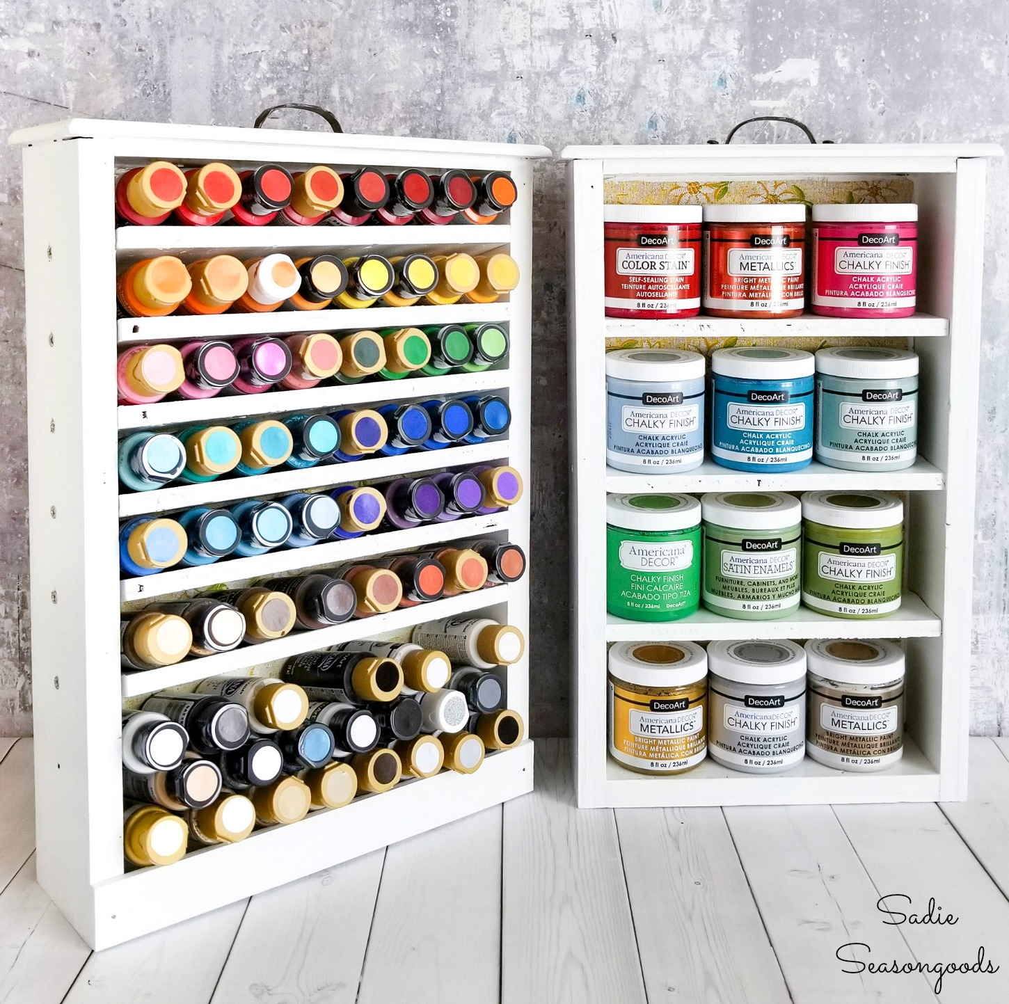 Craft paint storage in wooden drawers for craft room organization