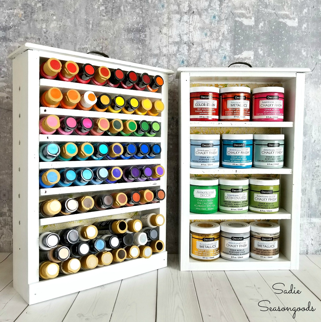 DIY Craft Room Organization with craft paint storage inside upcycled old drawers by Sadie Seasongoods