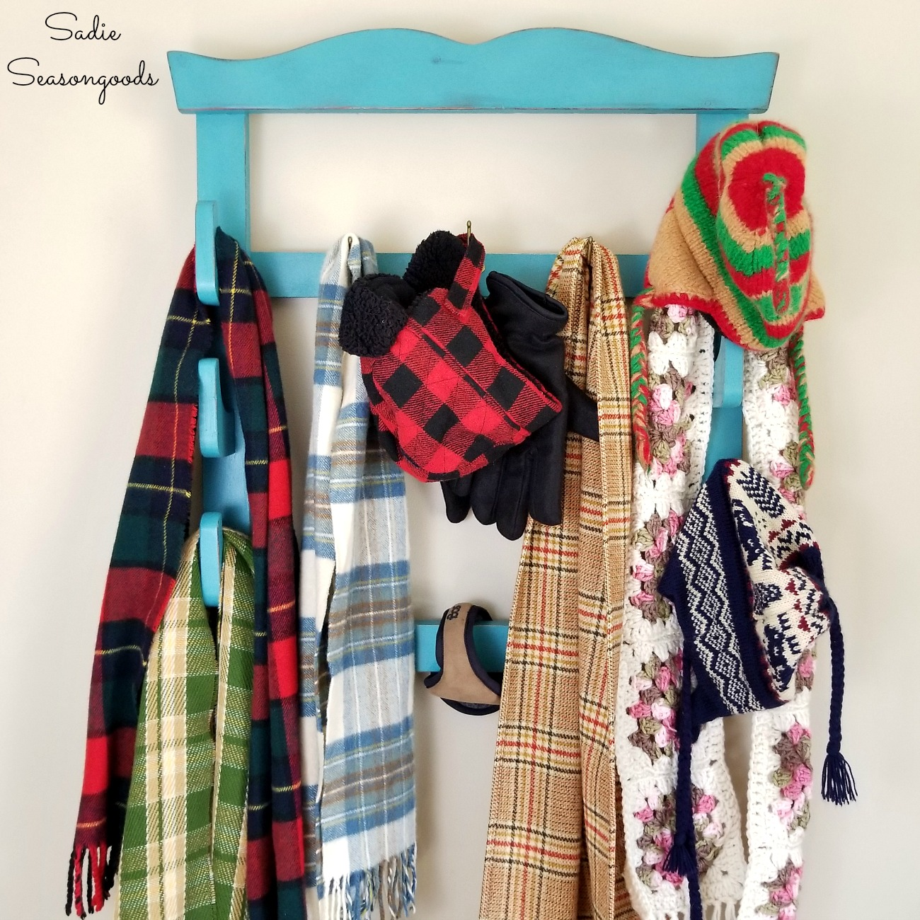 How to make a wall mounted coat rack or coat tree for entryway storage from a wall gun rack by Sadie Seasongoods