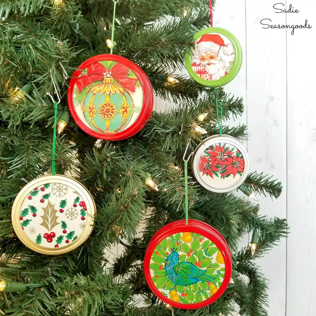 Retro Christmas.Retro Christmas Ornaments From Canning Jar Lids And Vintage