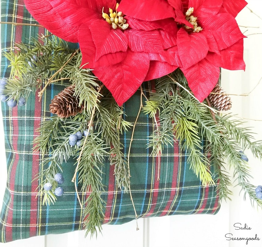 Decorating a clothespin bag as a rustic Christmas wreath