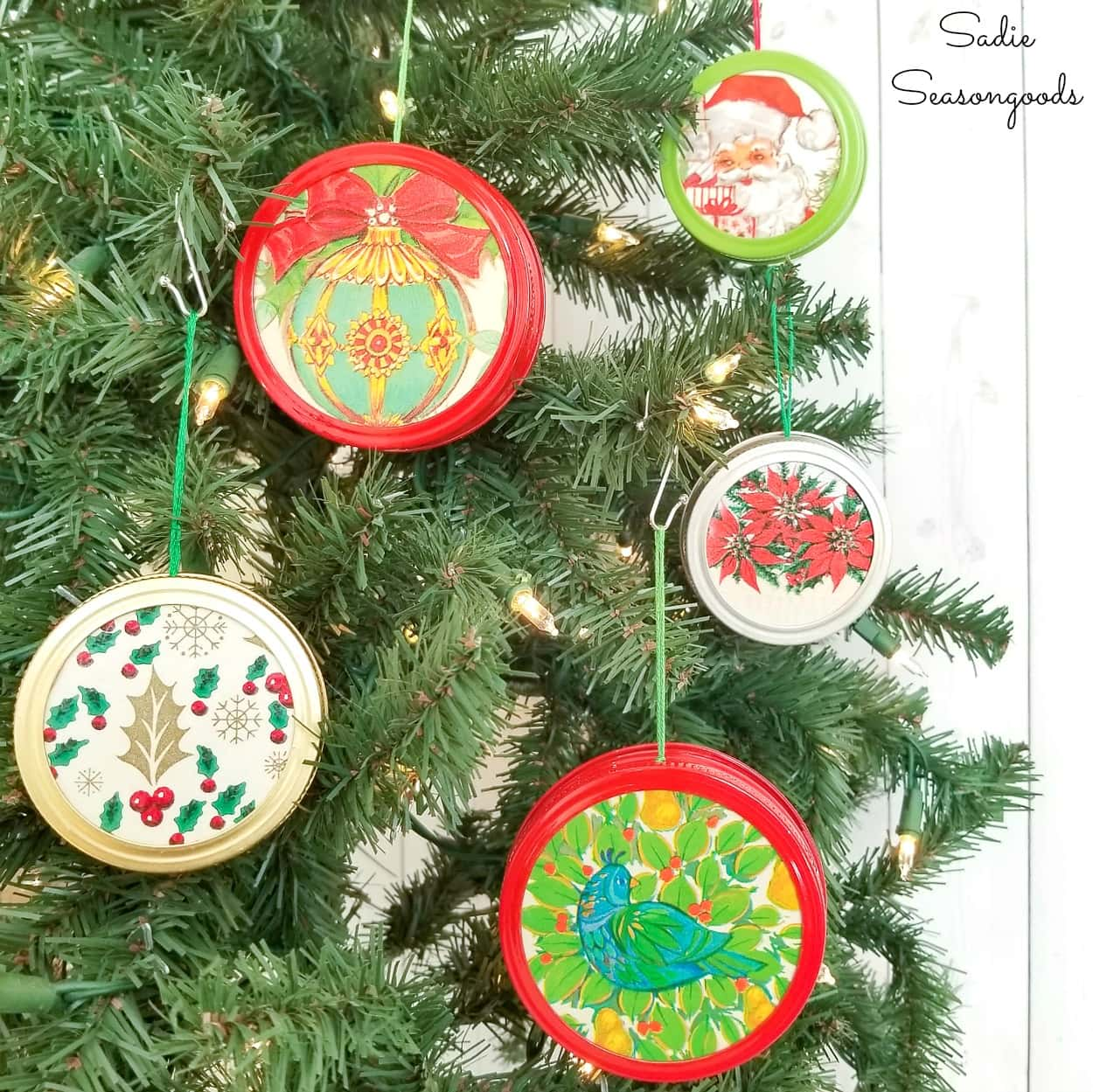 Mason Jar Lid Ornaments with Vintage Christmas Wrapping Paper