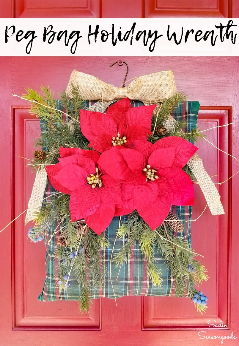 Plaid Christmas wreath from a clothespin bag
