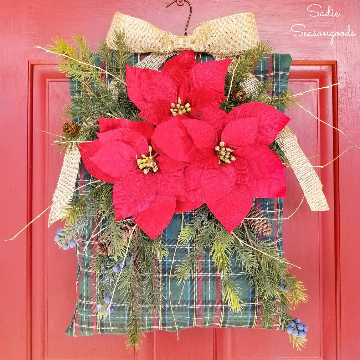 Unique Christmas Wreath with a Clothespin Bag
