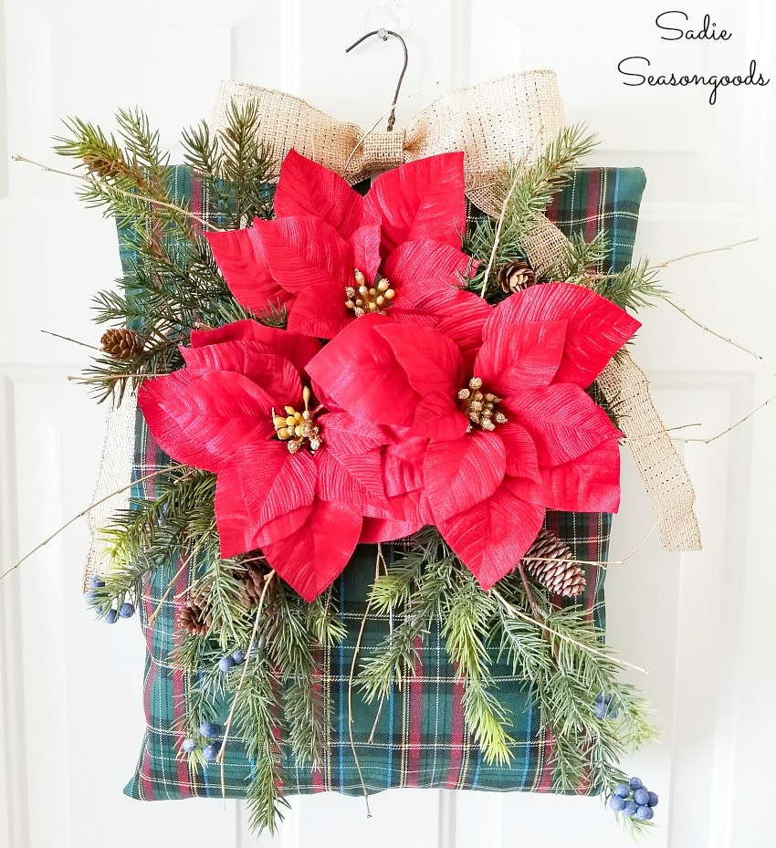 Upcycling a clothespin bag for a unique Christmas wreath