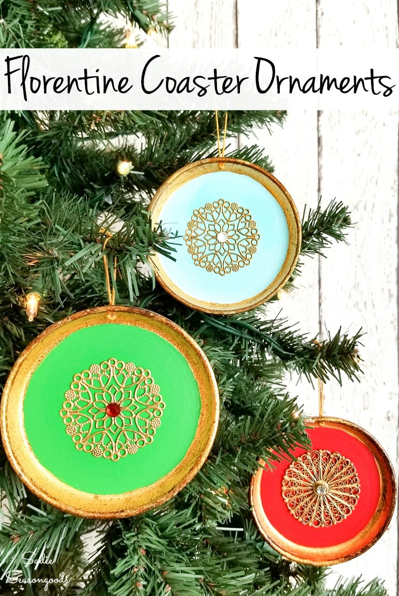 Christmas ornaments from Florentine coasters